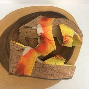 Nine West Brazil Larysa Tropical Cork Wedges